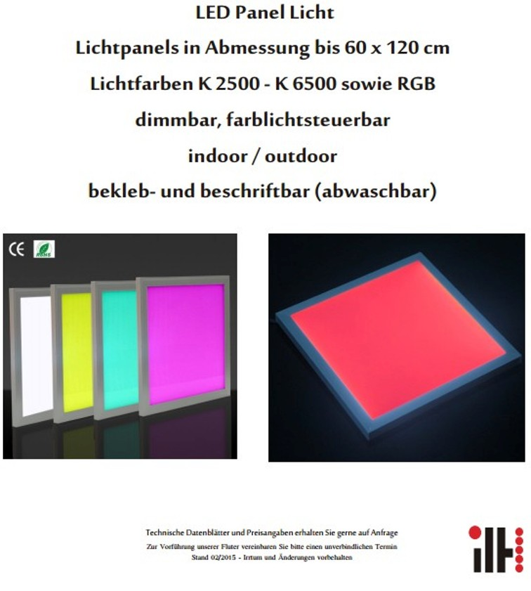 led panel licht lichtpanels bis 60 x 120 cm lichtfarben k 2500 bis k 6500 sowie rgb der. Black Bedroom Furniture Sets. Home Design Ideas